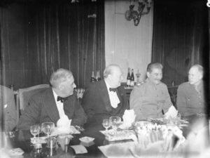 The Potsdam Conference in 1945: President Truman (L), British Prime Minister Churchill (M), Joseph Stalin (R) met to negotiate the end of WW II.